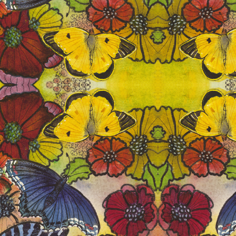 Butterflies_and_Flowers_ fabric by connie_sickler on Spoonflower - custom fabric