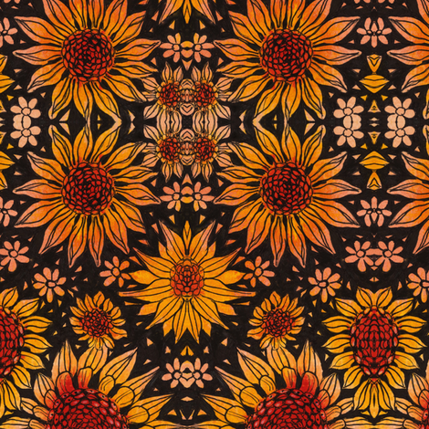 Sunflowers on Black fabric by connie_sickler on Spoonflower - custom fabric