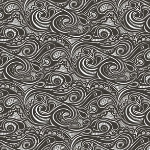 Swirl waves Doodle Black&White Tiny