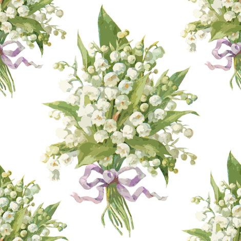 Muguet on white fabric by lilyoake on Spoonflower - custom fabric
