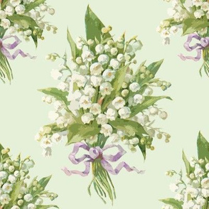 Muguet on pale basil green