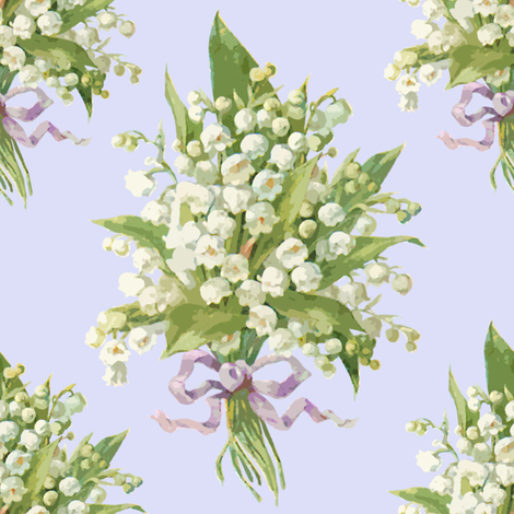 Muguet on blue violet fabric by lilyoake on Spoonflower - custom fabric