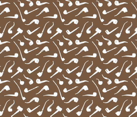 Tobacco Pipes on Brown - Small fabric by thinlinetextiles on Spoonflower - custom fabric