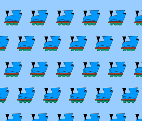 Little Blue Engine fabric by playtrains on Spoonflower - custom fabric