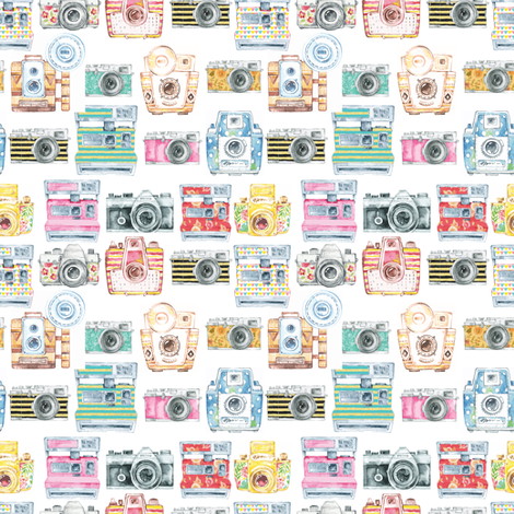 Watercolor Cameras - SMALL SCALE fabric by gypseeart on Spoonflower - custom fabric