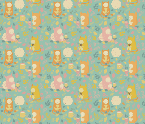 Cute monsters and tea party fabric by marinademidova on Spoonflower - custom fabric