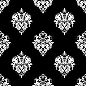 Black and white classic flowers seamless pattern