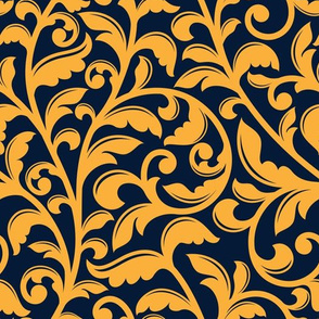 Baroque stylized floral seamless pattern