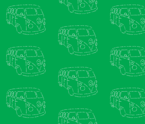 Kombi Van Kalligram green on white fabric by blue_jacaranda on Spoonflower - custom fabric
