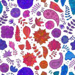 Doodle flower indian pattern