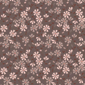 Francesca Floral - brown and pink