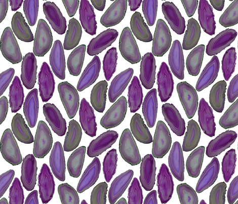 Amethyst Geodes on White  fabric by december_rose on Spoonflower - custom fabric