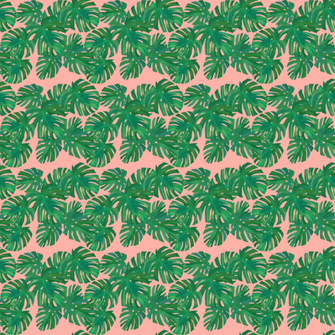 monstera_pink fabric by katrina_ward on Spoonflower - custom fabric