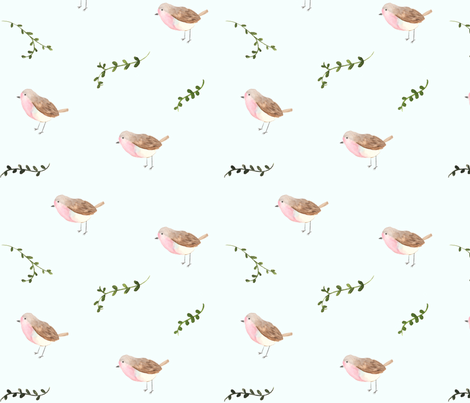 Robins and Vines fabric by pacemadedesigns on Spoonflower - custom fabric