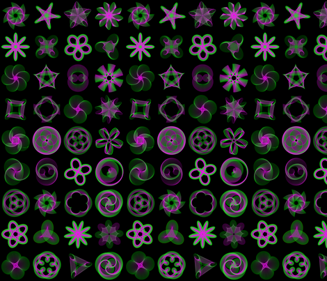 Spirograph: Green & Purple 4x9 fabric by davidkaufman on Spoonflower - custom fabric