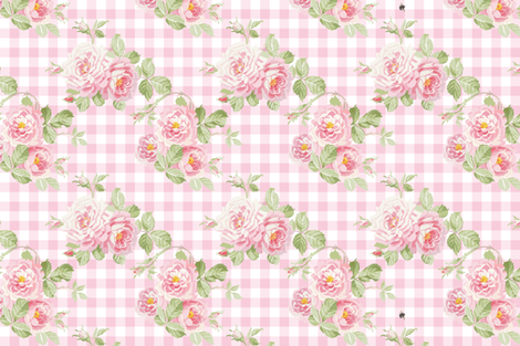 Picnic at St Hubert Priory Gardens peony fabric by lilyoake on Spoonflower - custom fabric