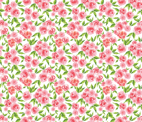 Whimsical Roses - WHITE fabric by gypseeart on Spoonflower - custom fabric