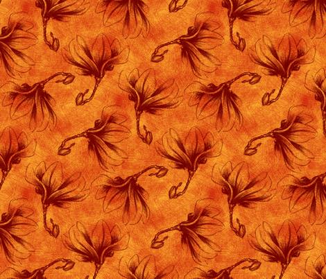 Hatched Magnolias - Fire fabric by siya on Spoonflower - custom fabric