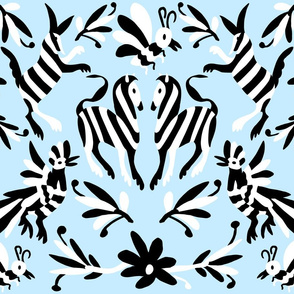 Pale Blue Otomi Striped Animals