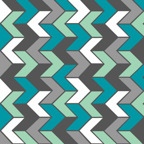 Teal Mint Grey Chevron