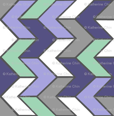 Purple Mint Grey Chevron