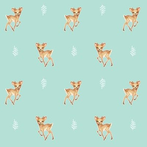 Bambi Speckled Deer on Palest Duck egg blue
