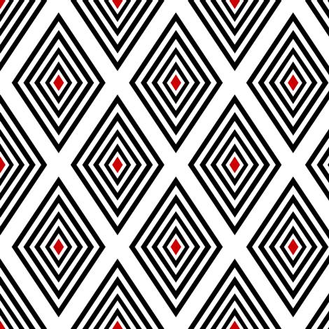 Red-centered black on white UK op art diamonds by Su_G fabric by su_g on Spoonflower - custom fabric