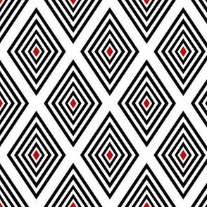 Red-centered black on white UK op art diamonds by Su_G