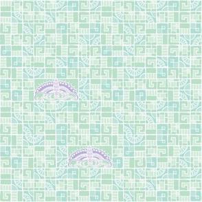 Five Tiles & Butterflies - lavender & seaglass