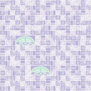 Five Tiles & Butterflies - lavender & seaglass II