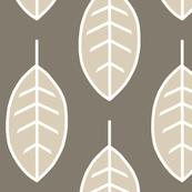 Leaves- Midnight Woodland - tan, beige, black