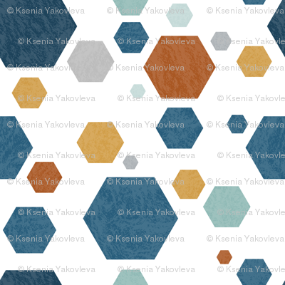 Hexagons Blue Jeans
