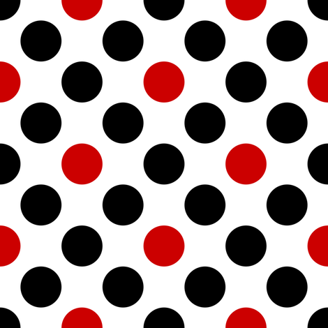 Uk Black Red Diagonal Polka Dots On White By Su G Fabric