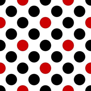 UK black + red diagonal polka dots on white by Su_G