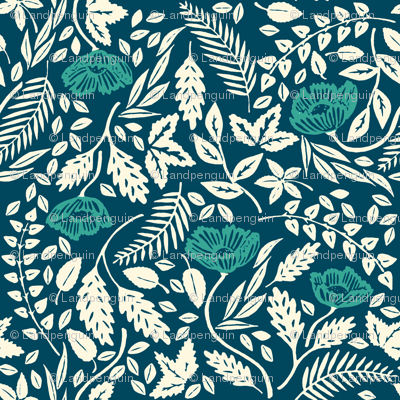 Teal, White, and Blue Flowers