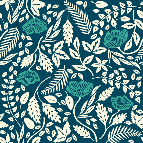 Teal, White, and Blue Flowers fabric by landpenguin on Spoonflower - custom fabric