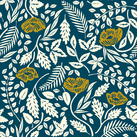 Yellow, White, and Blue Flowers fabric by landpenguin on Spoonflower - custom fabric