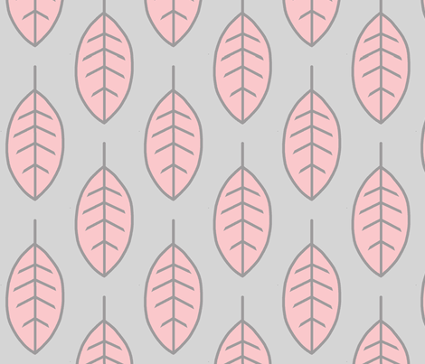 Leaves-pink/grey-meadow sunrise fabric by sugarpinedesign on Spoonflower - custom fabric