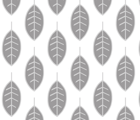 Leaves-silver/grey/white fabric by sugarpinedesign on Spoonflower - custom fabric