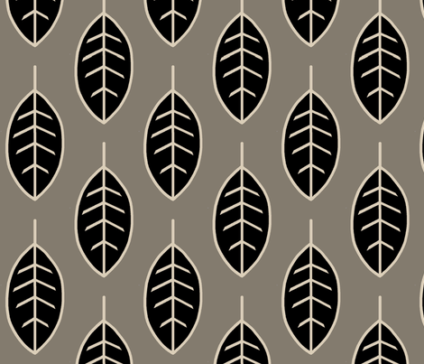 Leaves-midnight woodland-black/tan/taupe fabric by sugarpinedesign on Spoonflower - custom fabric