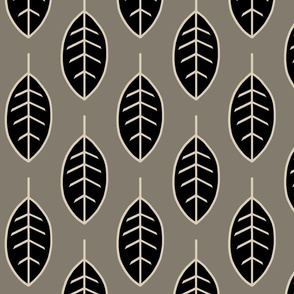 Leaves-midnight woodland-black/tan/taupe