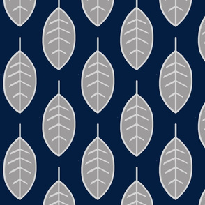 Leaves-navy/grey