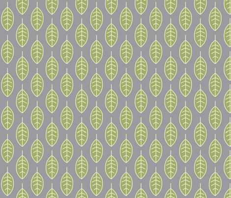 Leaves-green/grey-small scale-Sherwood forest fabric by sugarpinedesign on Spoonflower - custom fabric