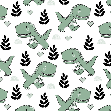 T-Rex Dinos in Sagey fabric by natitys on Spoonflower - custom fabric