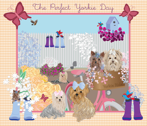 Yorkie - Quilt Panel- The Perfect Yorkie Day fabric by sherry-savannah on Spoonflower - custom fabric