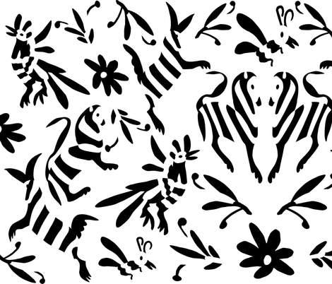 Black white mexican otomi animals fabric by thestylesafari on spoonflower custom fabric