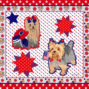 Yorkie - Election 2016 - Spirit Red w/stars Quilt Panel