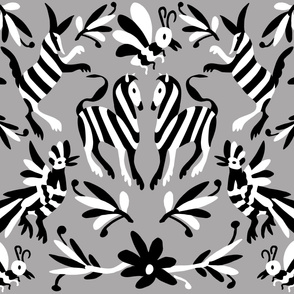 Grey Black White Mexican Otomi Animals