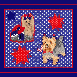 "Yorkie Spirit Panel 42x36"" Blue"