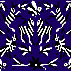 Black Navy Blue Mexican Otomi Animals